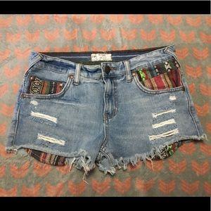 Free People Tribal Jean Shorts 27